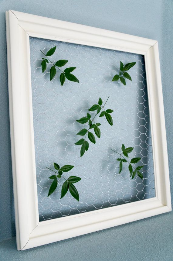 Chalky Ivory Vintage Frame with Chicken Wire: Christmas display ...