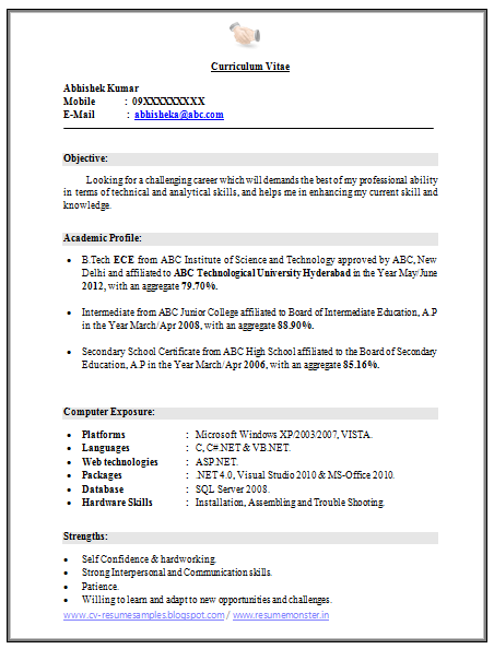 b tech resume format for fresher format fresher resume cv