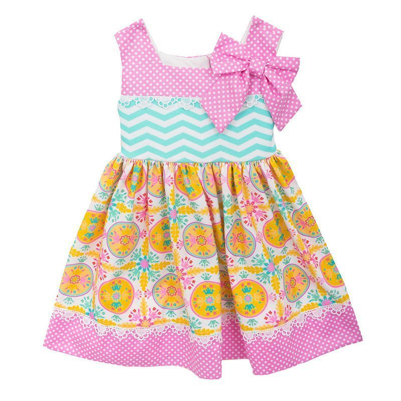 Toddler Girl Rare Editions Mix Pattern Dress, Size: