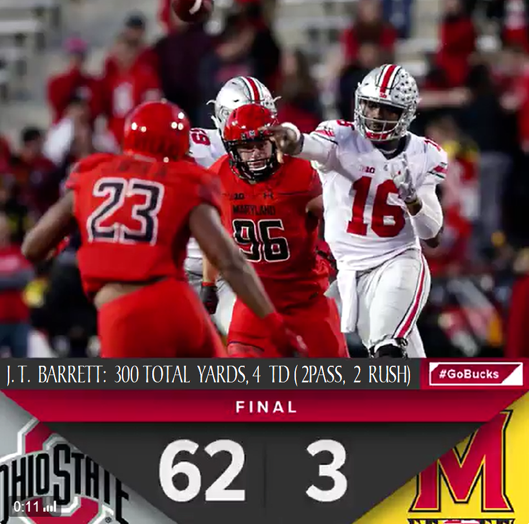 11 12 20 16 Game 10 The Vs Maryland J T Barrett Stats Ohio State Buckeyes Football Ohio State Football Ohio State