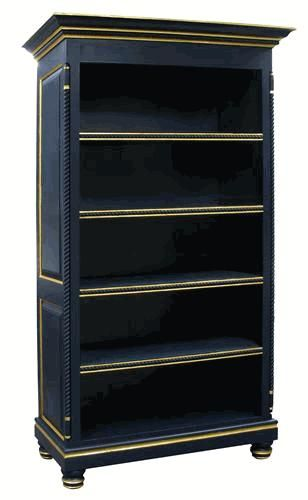 I Love This Navy Blue Bookcase With Gold Trim Bookcase Blue Bookshelves Home Goods Decor