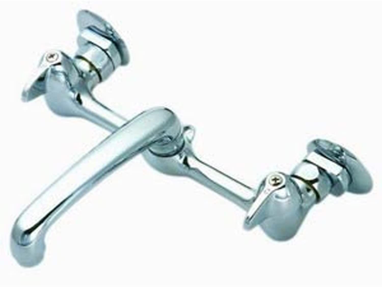 Lasco 07 1260 Adjustable Wall Mount Kitchen Faucet 6 Inch Spout Chrome Finish Wall Mount Kitchen Faucet Chrome Finish Kitchen Faucet