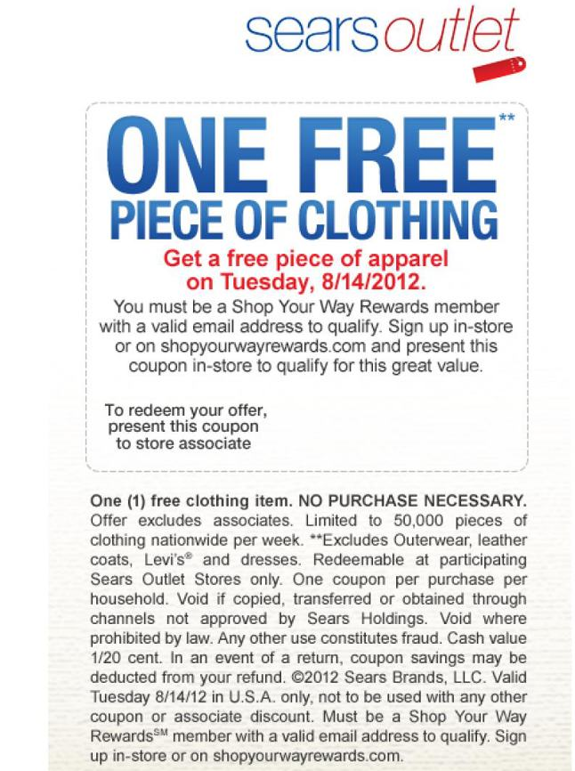 Any Piece Of Clothing Free Today At Sears Outlet No Purchase Necessary Coupon Via The