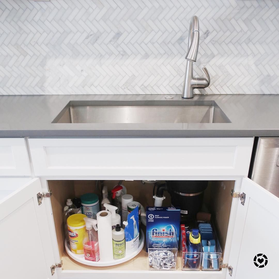 Under The Sink Cleaning Organized Turn Table Lazy Susan Ideas