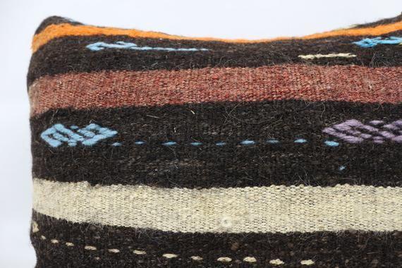 Turkish Kilim Pillow, 22x22 Rustic Pillow, Striped Pillow, Orange Pillow, Cushion Cover, Traditional
