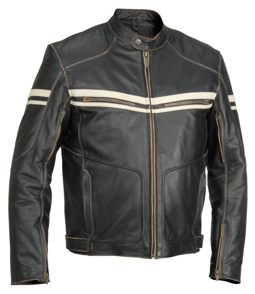 Hoodlum Vintage Leather Motorcycle Jacket With Racer Stripes