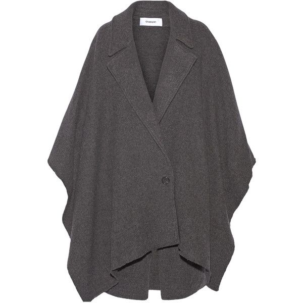Chalayan Leather-trimmed wool-blend poncho ($460) ❤ liked on Polyvore featuring outerwear, jackets, dark gray, wool-blend jacket, chalayan, poncho jacket and leather trim jacket
