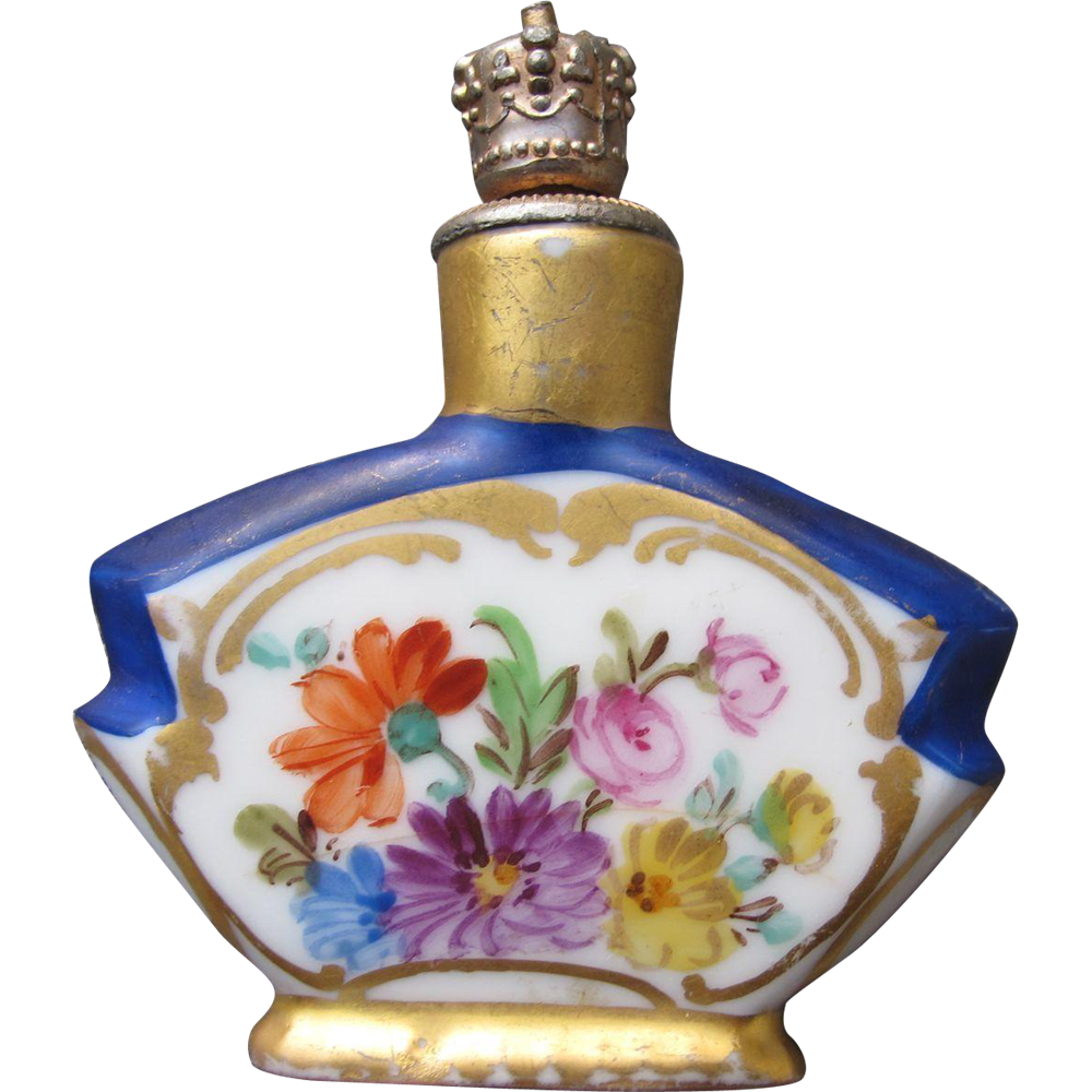 Dresden Perfume Bottle Crowntop with Hand Painted Flowers 1920's from timeinabottle on Ruby Lane