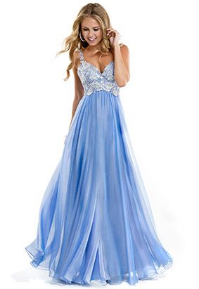 Blue lace and chiffon sequin prom dress by Flirt