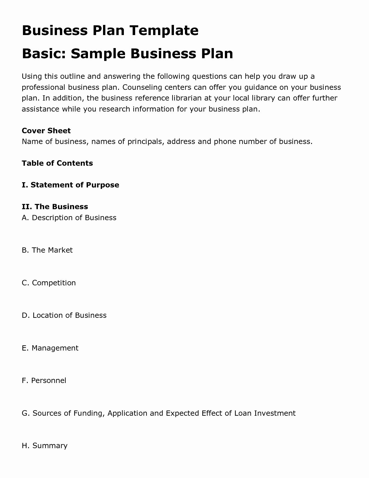 Business Plan Template Free Unique Simple Business Plan
