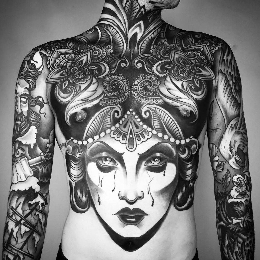 MA REENI Body art tattoos, Mandala chest tattoo, Tattoos