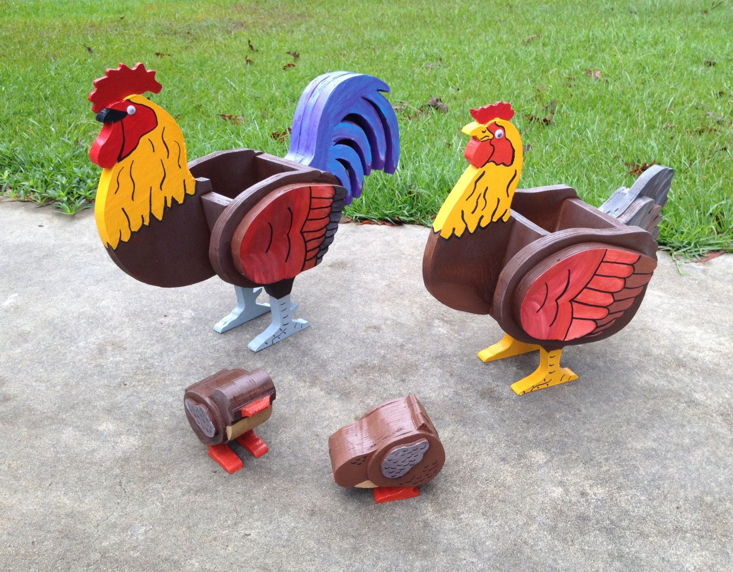 Wooden animals ornaments - Wooden Animal Planters Rooster Chicken And Chicks By Cutsncrafts On Etsy