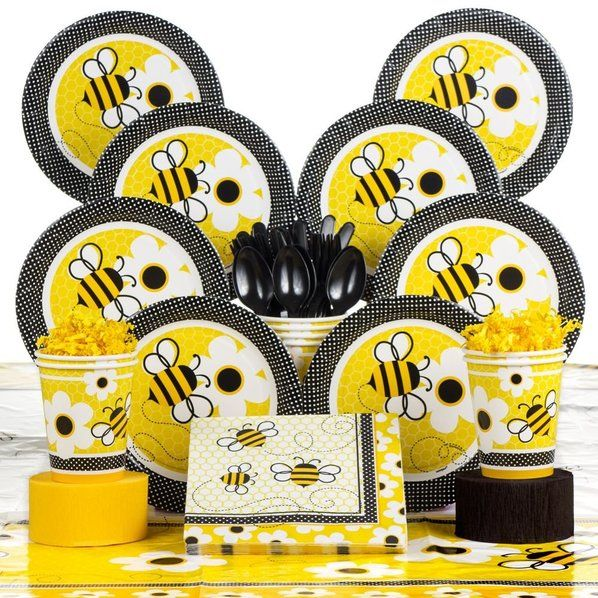 Bumble Bee Party Deluxe Tableware Kit Serves 8