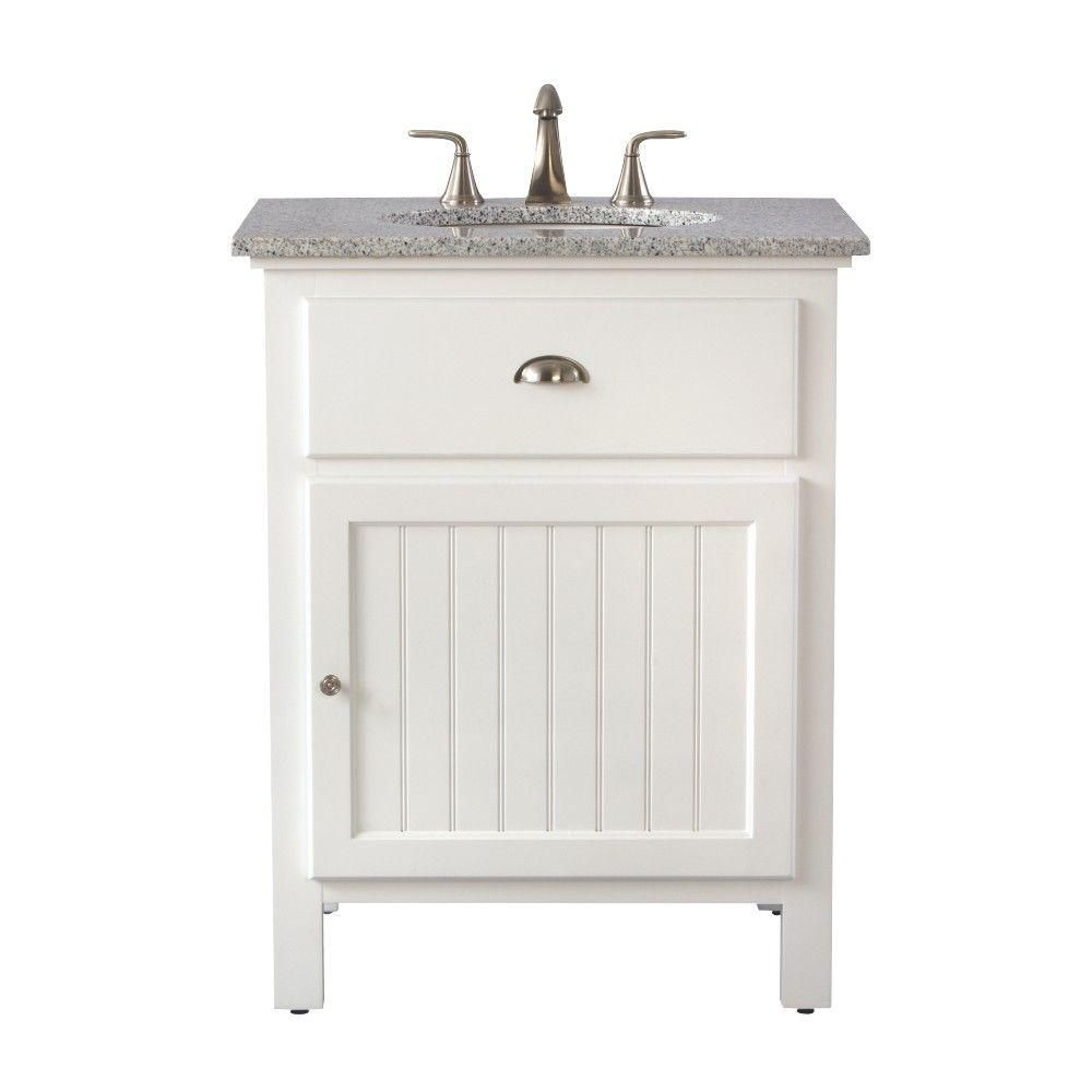 Home Decorators Collection Ridgemore 28 In W X 22 In D Bath Vanity In White With Granite Vanity Top In Grey 3062500410 The Home Depot Granite Vanity Tops Vanity Home Decorators Collection
