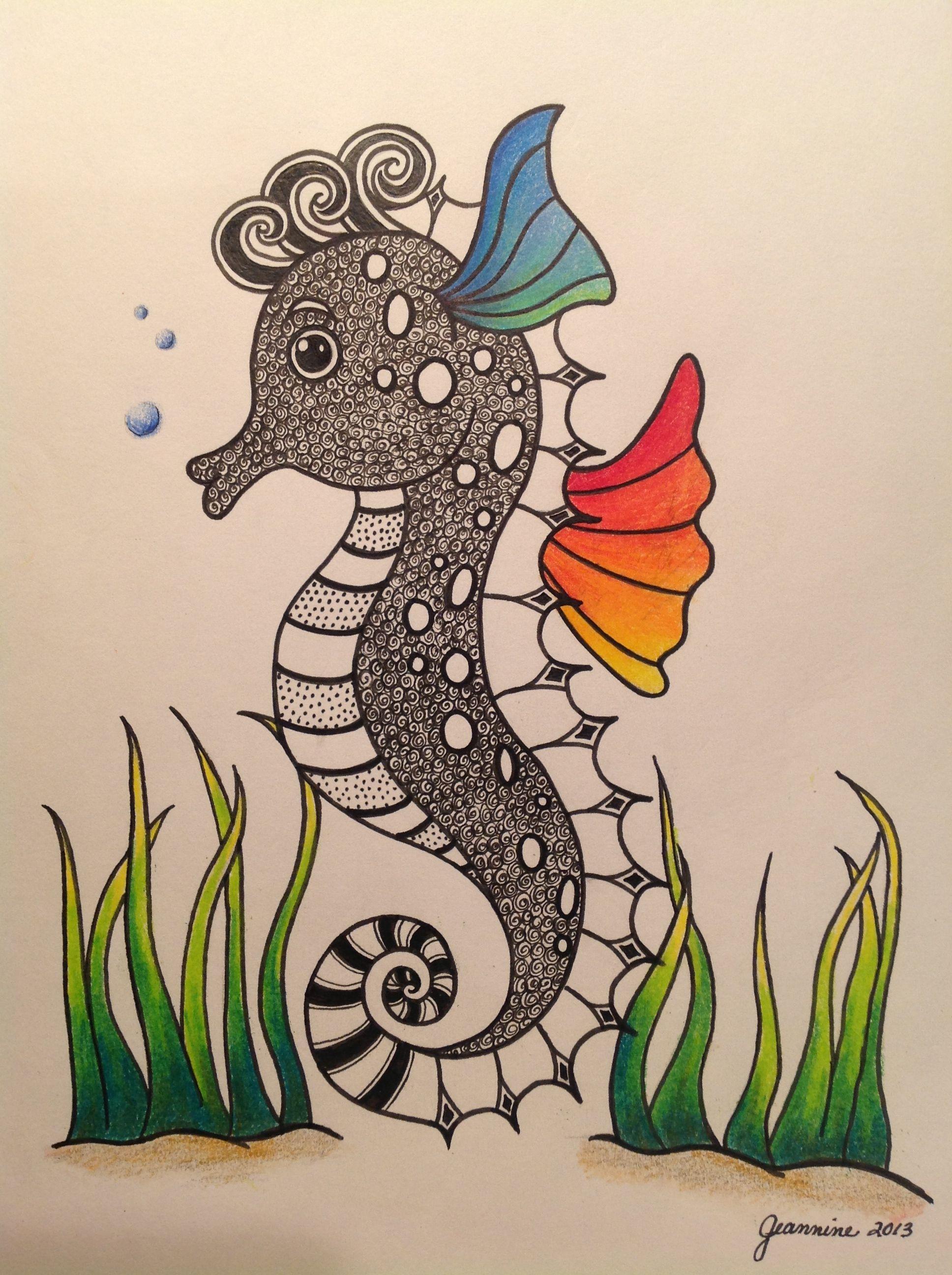 My seahorse zentangle