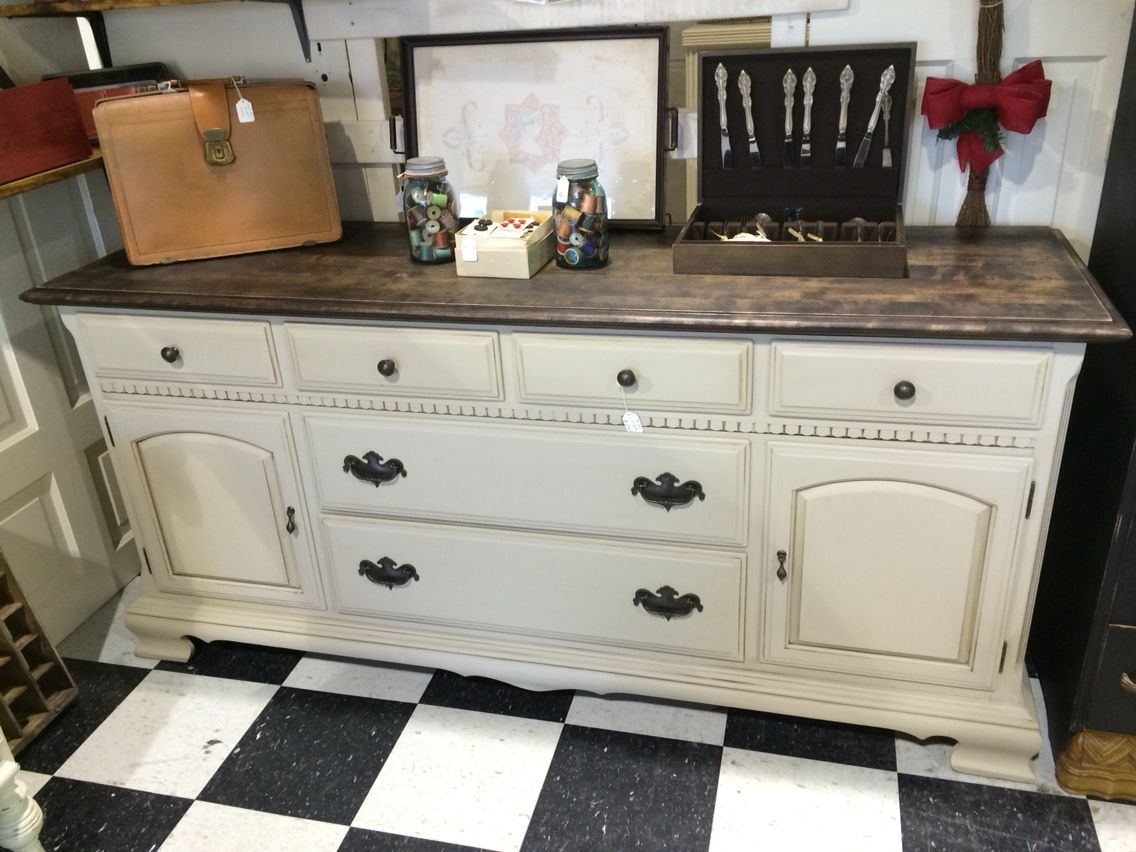 Lovely Ethan Allen Dresser With A Refinished Top And Painted Taupe. Glaze Added  For Aged Effect