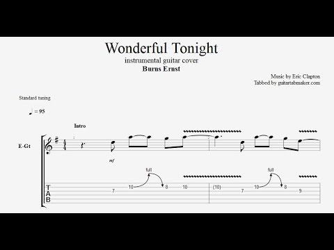 Wonderful Tonight Instrumental Guitar Tabs Easy Pdf Guitar Sheet
