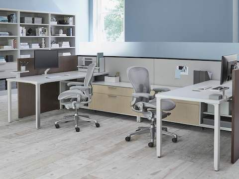 Two Light Gray Aeron Ergonomic Office Chairs In A Shared Canvas Landscape Worke With Bookshelves
