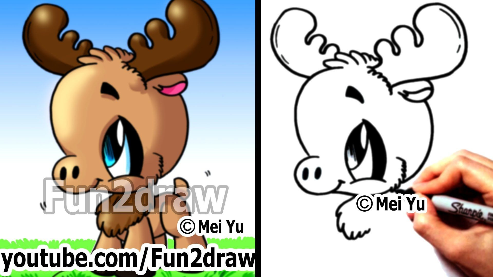 cute animals new drawing video how to draw animals moose