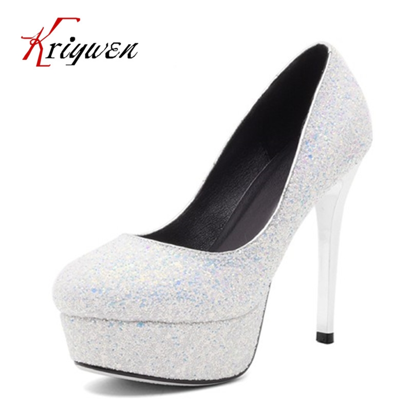 44.06  Buy here - Spring Woman glitter bling bling party shoes thin High Heels  Pumps 47646bf6f78f
