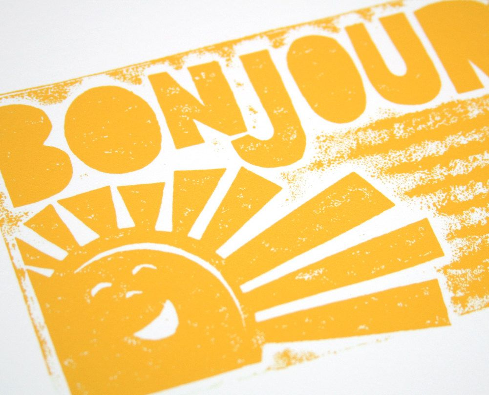 BONJOUR French Sunshine Wall Art, baby nursery art, good morning ...