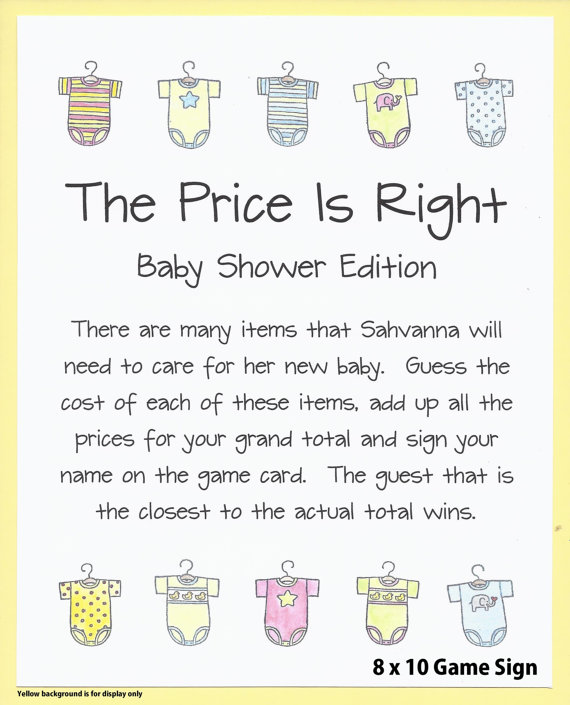The Price Is Right Baby Shower Game Guess The Price Baby Shower