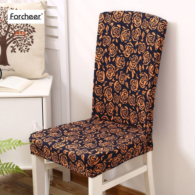 Rose Pattern Spandex Stretch Polyester Spandex Modern Minimalist Endearing Stretch Covers For Dining Room Chairs Design Decoration