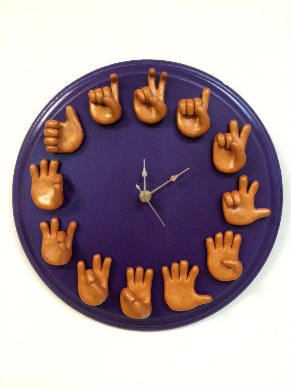 e0f0848e5740 Personalizado lenguaje de signos reloj ASL Art pared única