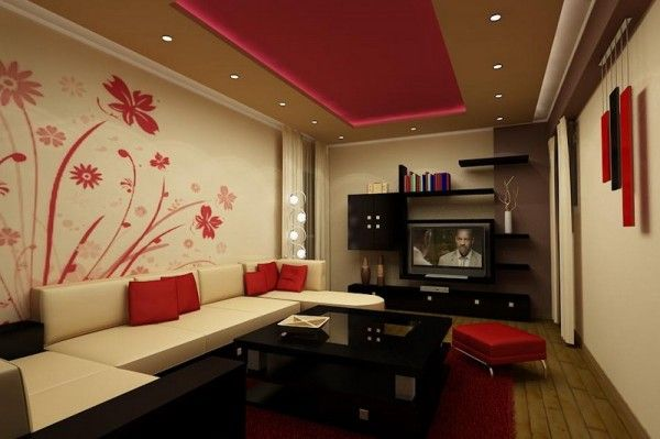 Inspirational-Living-Room-Design-with-Floral-Wall-Mural-600x399 - raumteiler für wohnzimmer