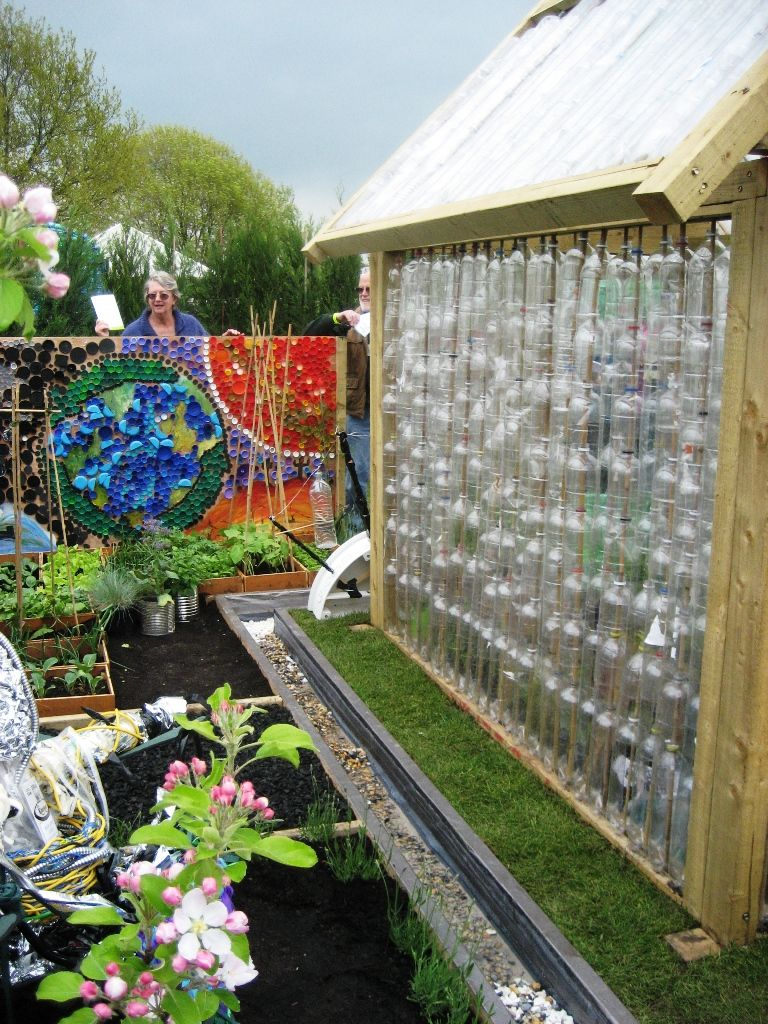 garden design made of recycled materials. Garden Ideas From Recycled Materials Greenhouse Made Plastic Bottles And A Mural Design Of N