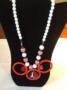"""Playful Red & White Fashion Necklace (23"""")"""