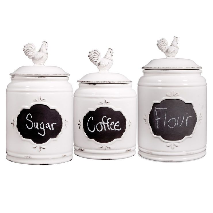 Ivory Rooster Canister Set 3 Kitchen Canisters