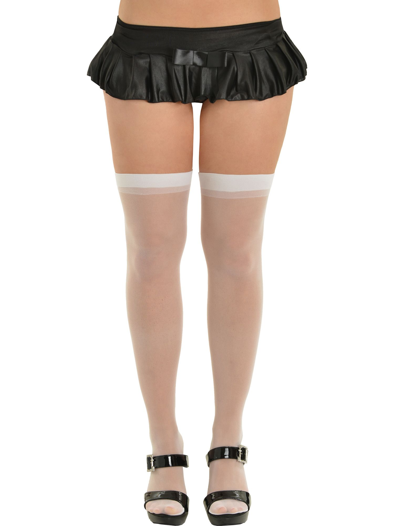 f547e2b4f Womens Plus Size Thigh Highs Sheer Stockings White Nude or Black  Nylons Highs