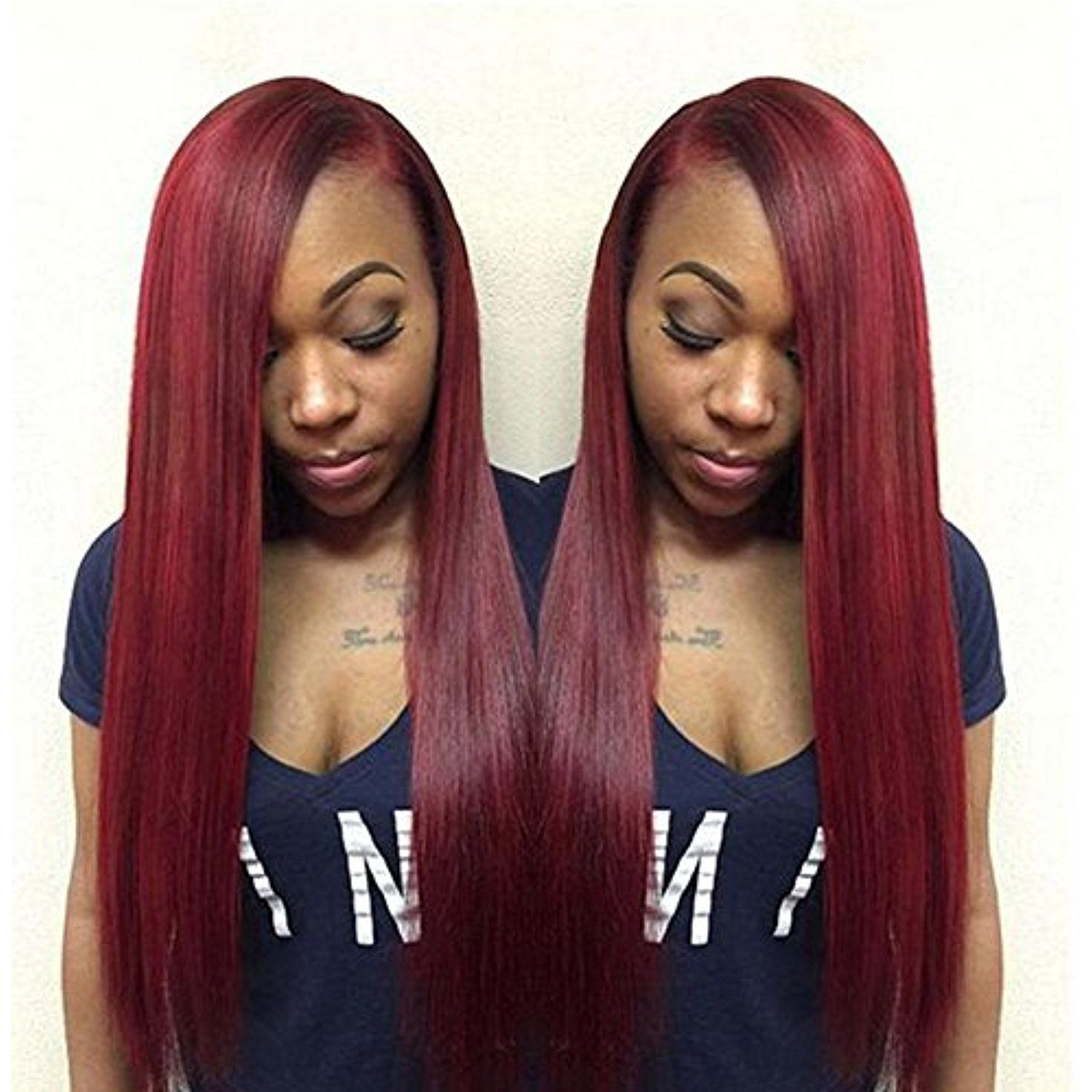 Fashion Lady Hair 99j Brazilian Virgin Hair Straight 3 Bundles 100g Piece Red Wine Color 14 16 Virgin Brazilian Straight Hair Burgundy Hair Womens Hairstyles