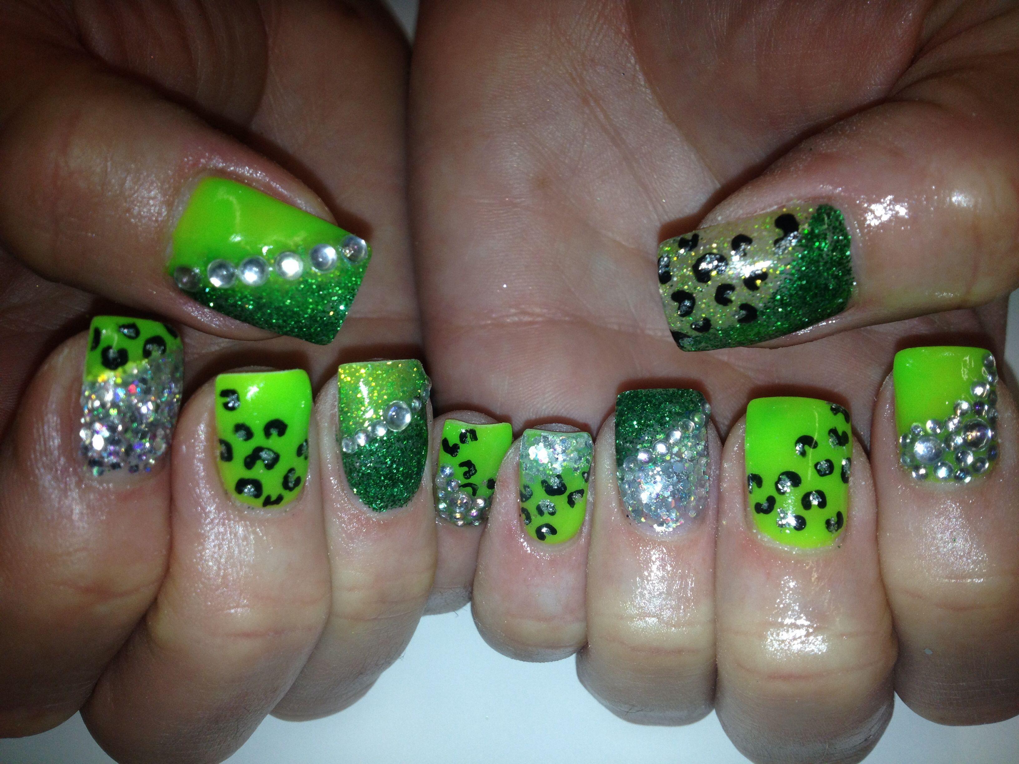 Neon Green Leopard Glitter Gel Nail Art | Make Up | Pinterest ...
