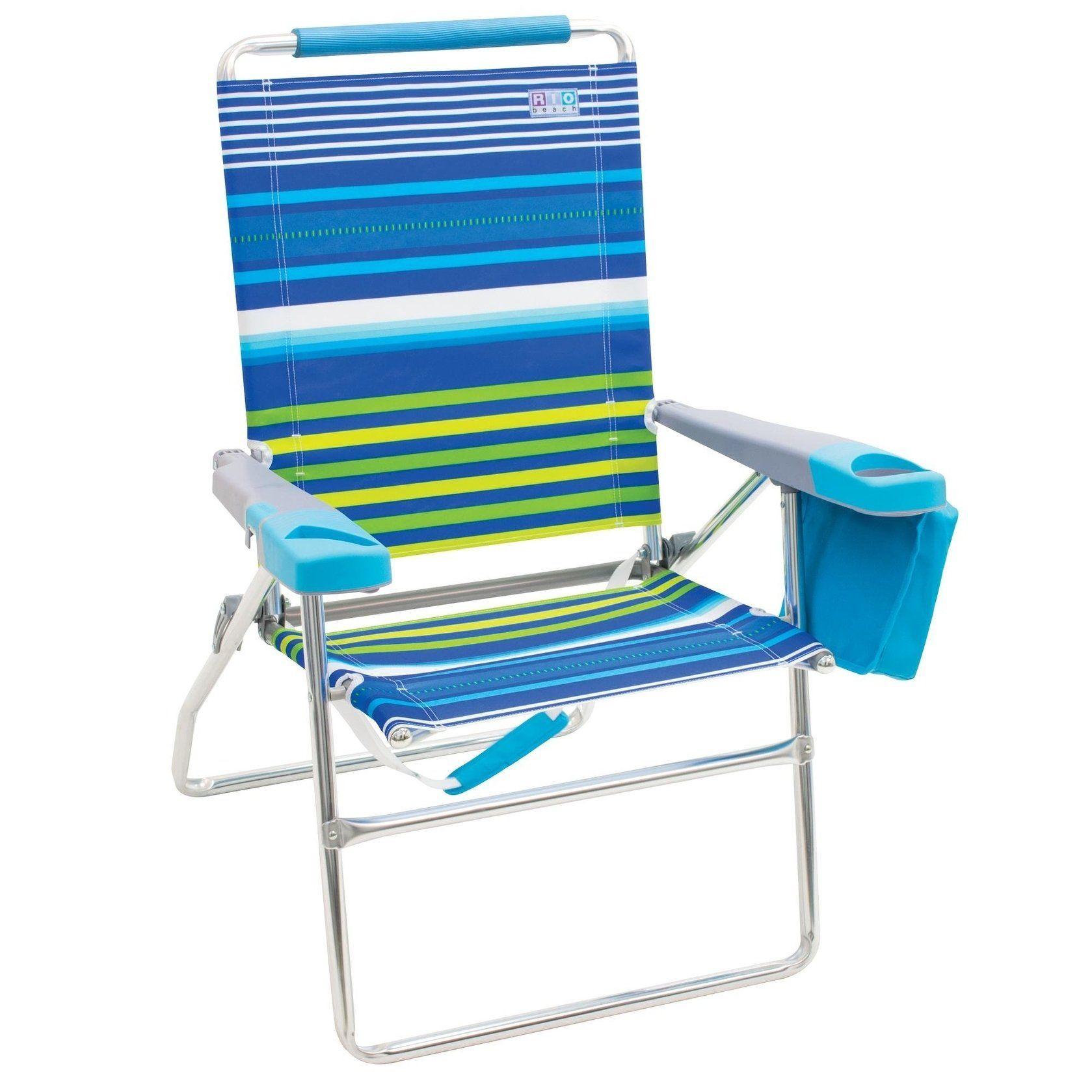Rio Beach 4 Position 17 Inch Tall Beach Chair Stripe Multicolor Folding Beach Chair Striped Beach Chair Beach Chairs