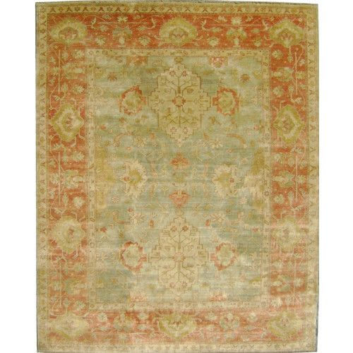 Ottoman Hand Knotted Orange Green Area Rug Green Area Rugs Area