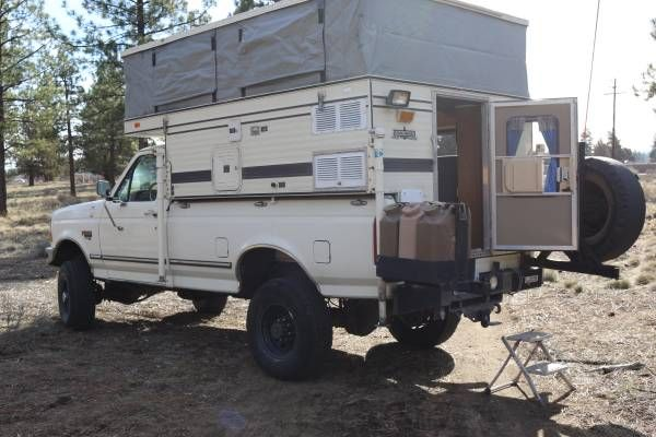 Expedition Vehicle 1996 Ford F 350 7 3 1997 Four Wheel Camper Grandby 15500 Bend Or Jerry Cans An Slide In Camper Truck Bed Camper Adventure Campers
