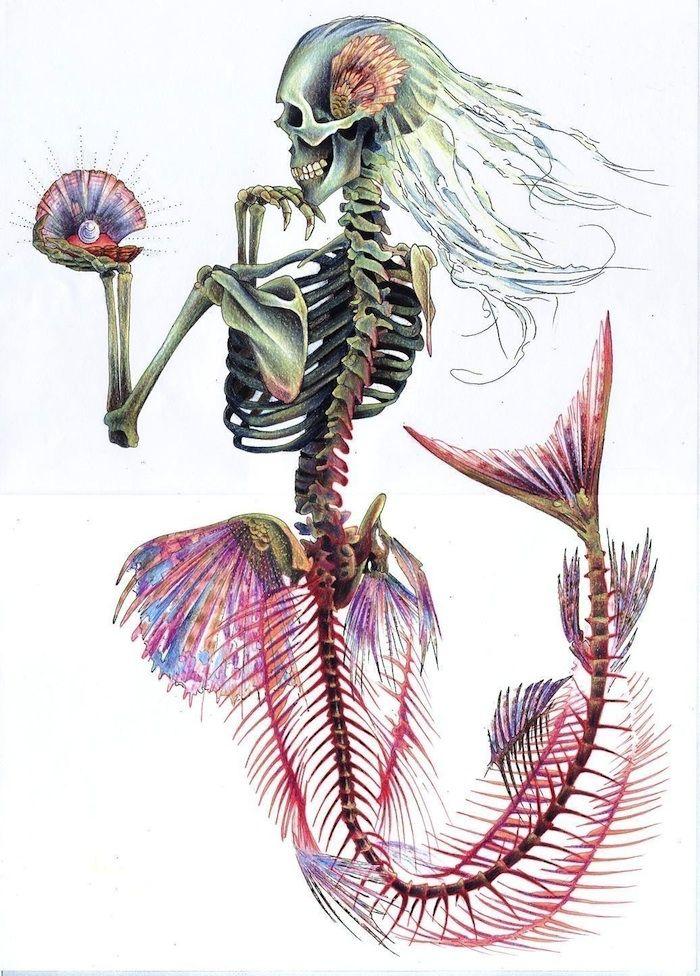 Mermaid Skeleton Print | Pinterest | Mermaid tattoos, Mermaid and Tattoo