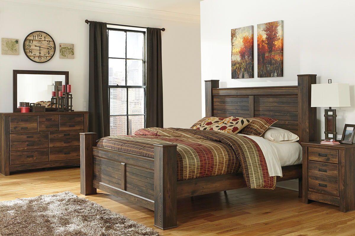 Ashley Quinden Dark Brown 7 Pc Dresser Mirror King Poster Bed Amp Nightstand Bedroom