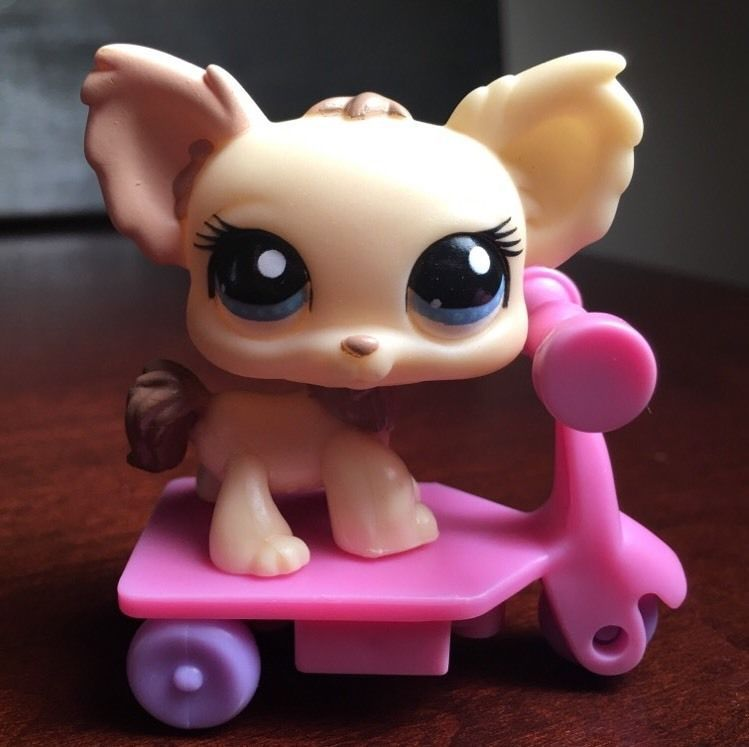 Littlest Pet Shop Cream Tan Chihuahua 1171 Blue Eyes Dog