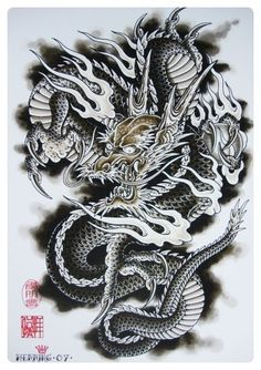 Pin by renzo rizzo on line work pinterest japanese dragon and tattoo - Dessin dragon japonais ...