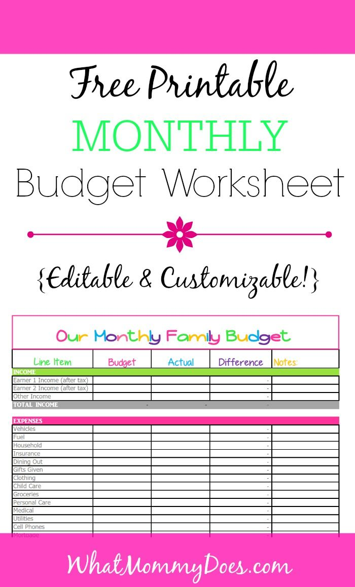 Budget Printables From Whatmommydoes Com This Cute Colorful Worksheet Is Perfect For Tr Monthly Budget Template Budgeting Worksheets Free Budget Printables