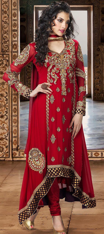 Brick Red Designer Wedding Churidar Suit 127 23