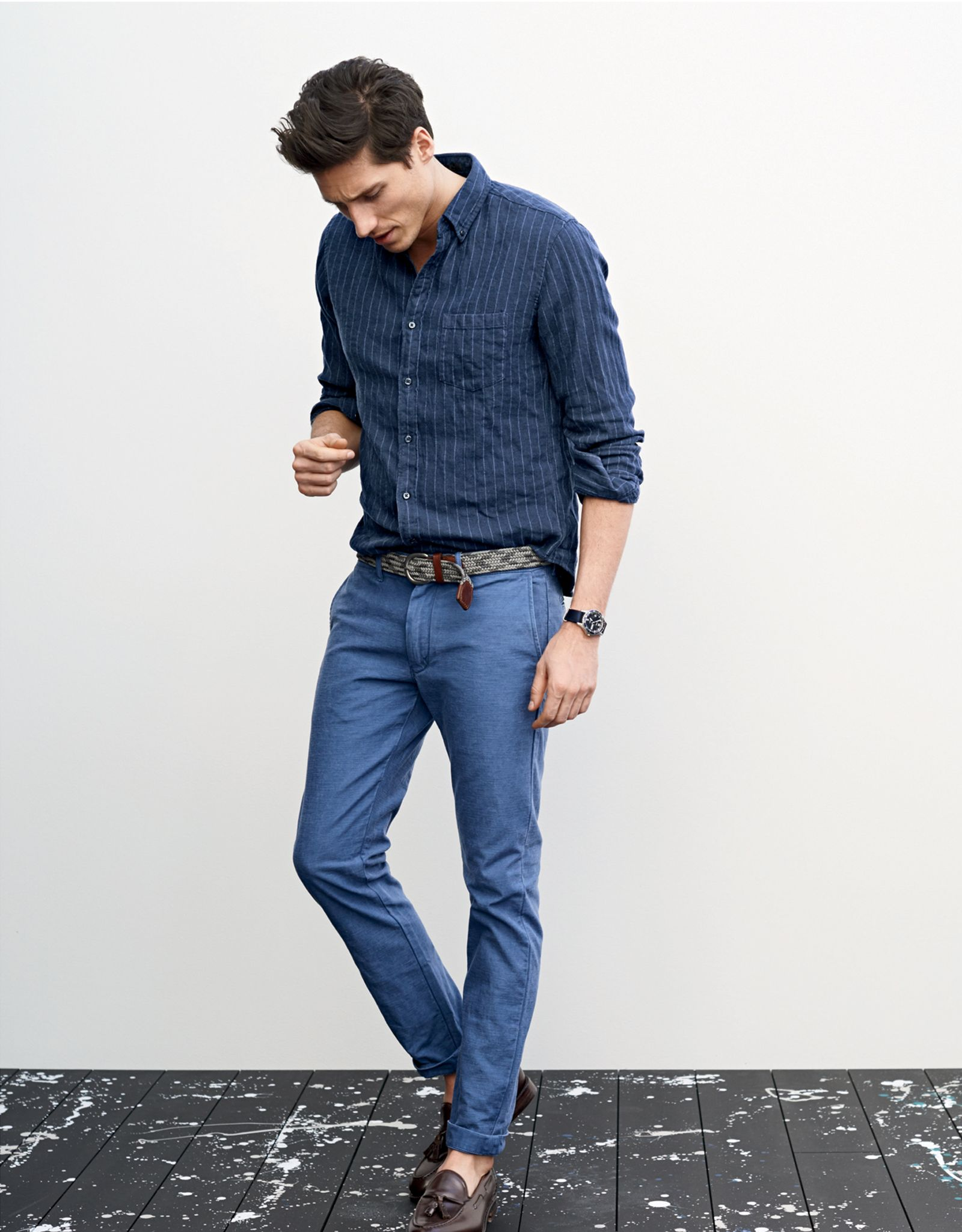 J.Crew men's slim indigo cotton-linen shirt, 484 textured cotton chino pant and Ludlow tassel loafer shoes. (May 2015)