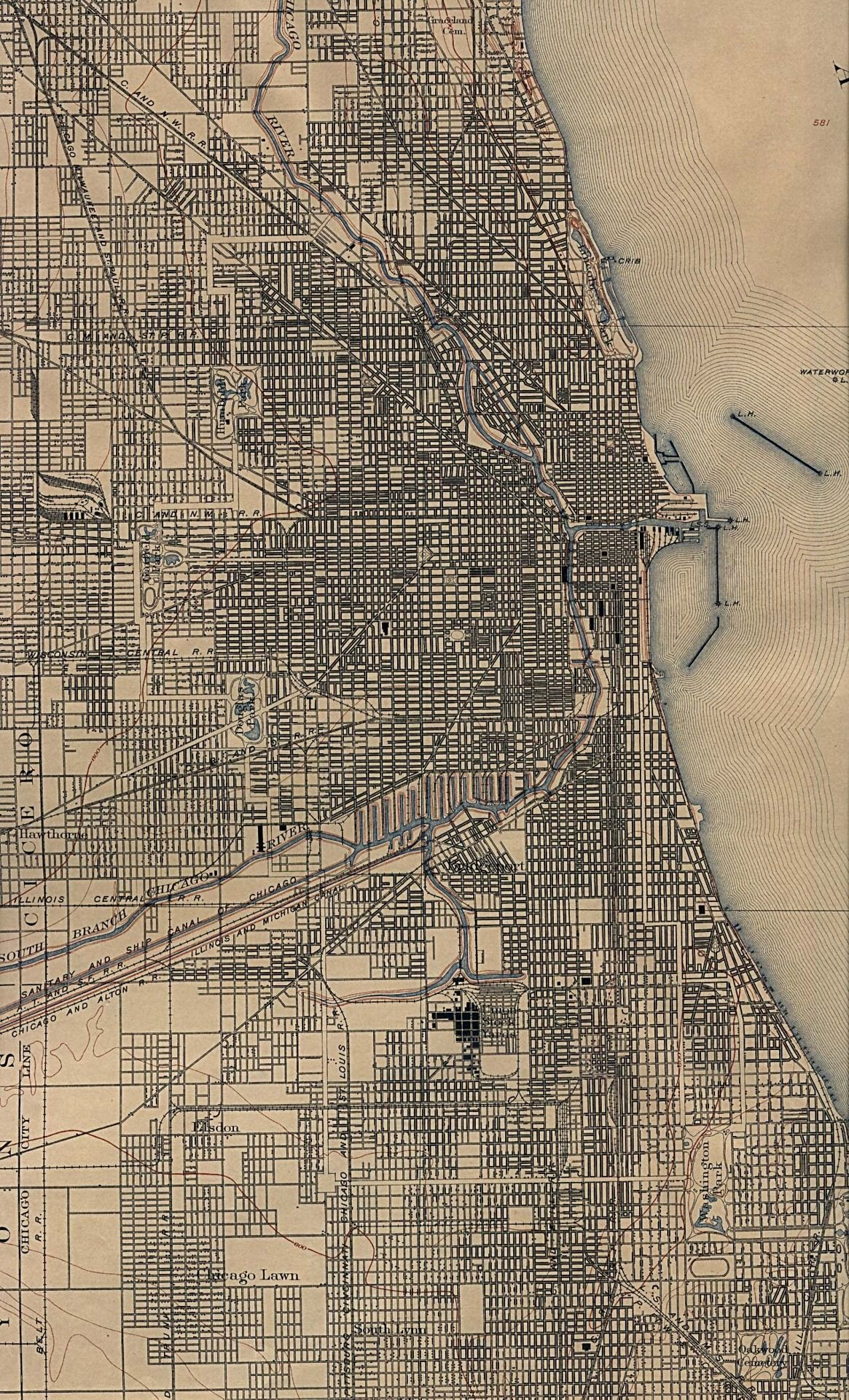 Map of Chicago in 1901 Map of