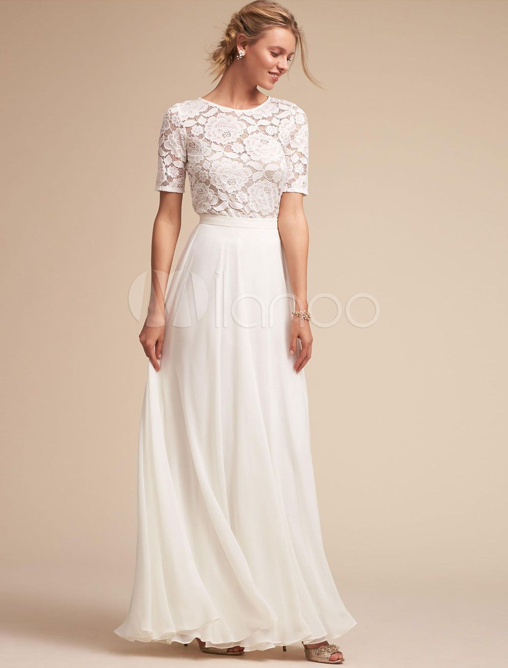 White long dress lace prom dress women chiffon short sleeve maxi