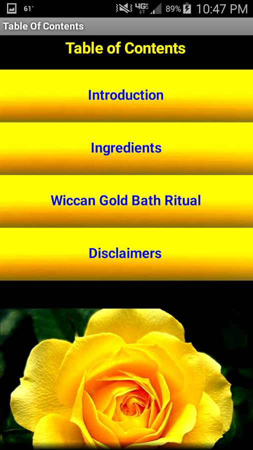 This app contains a Wiccan bathing ritual, called the Gold