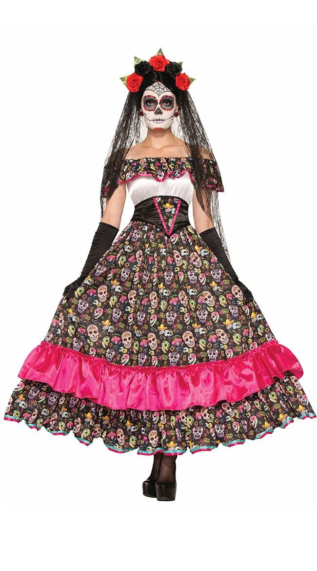 Spanish Lady Day Of Dead Costume, Women's Day Of The Dead Halloween Dress Size…