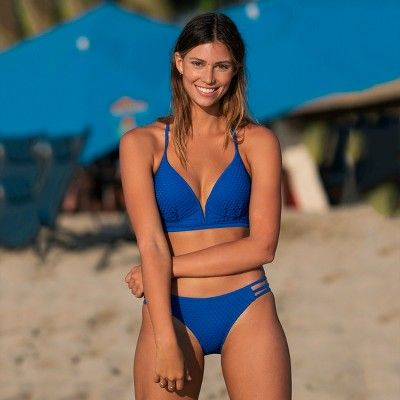 9121bc54d5 Women's Dream Lightly Lined V Wire Textured Bikini Top - Shade & Shore  Scuba Blue 38C